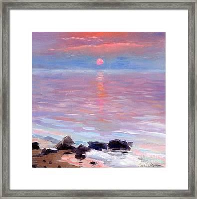 Sunset Ocean Seascape Oil Painting Framed Print by Svetlana Novikova