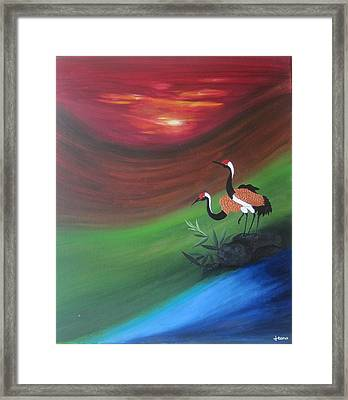 Sunset-oil Painting Framed Print by Rejeena Niaz