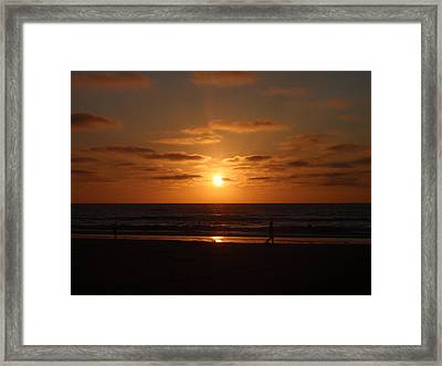 Sunset On A Beach In San Diego Ca Framed Print by Brittany Roth