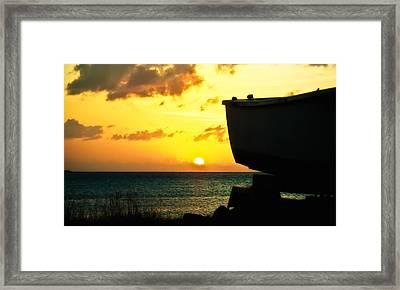 Sunset On Boat Framed Print
