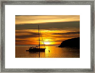 Sunset On Bowman Bay Framed Print by Cheryl Perin
