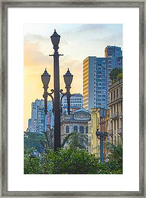 Sunset On Downtown In São Paulo Framed Print by Roberto Ramos