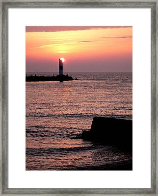 Sunset On Lake Erie Framed Print
