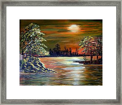 Sunset On Lake Windsor Framed Print