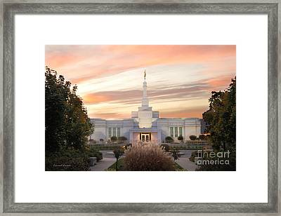 Sunset On Lds Montreal Temple Framed Print