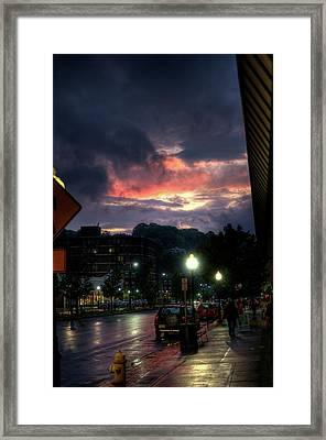 Sunset On Main Framed Print by Joshua Volff
