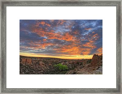 Sunset On Puebloan Ruins In Hovenweep Framed Print by Matt Champlin