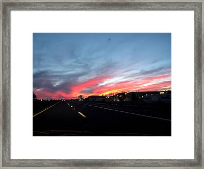 Sunset On Route 66 Framed Print by Kathy Corday