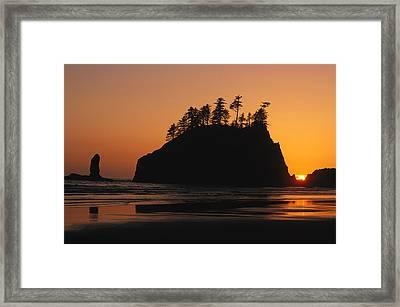 Sunset On Second Beach Framed Print by Phil Schermeister