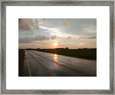 Sunset On Shiny Highway Framed Print