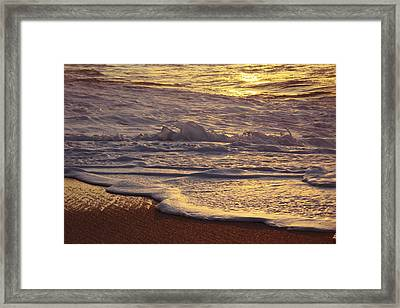 Sunset On Small Wave Framed Print