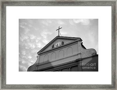 Sunset On St Louis Cathedral In Jackson Square French Quarter New Orleans Black And White Framed Print