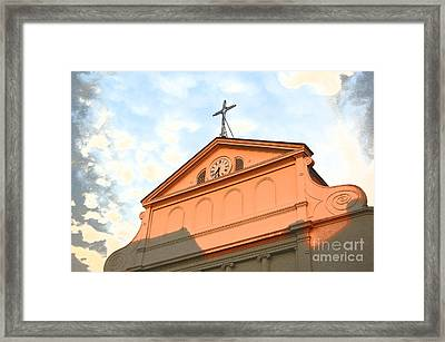 Sunset On St Louis Cathedral In Jackson Square French Quarter New Orleans Film Grain Digital Art Framed Print