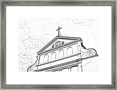 Sunset On St Louis Cathedral In Jackson Square French Quarter New Orleans Photocopy Digital Art Framed Print by Shawn O'Brien