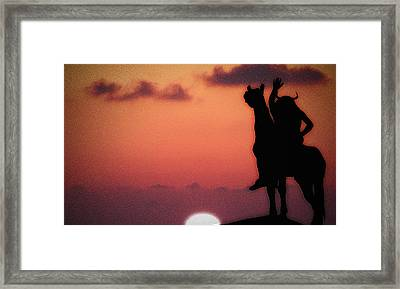Sunset On The American Indian Framed Print