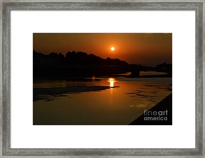 Framed Print featuring the photograph Sunset On The Arno River by Kathleen Pio