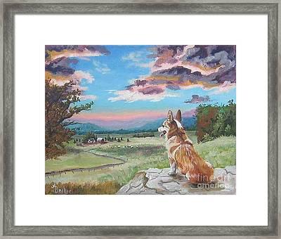 Sunset On The Corgi Farm Framed Print by Ann Becker