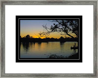 Sunset On The Dock Framed Print by Carolyn Marshall
