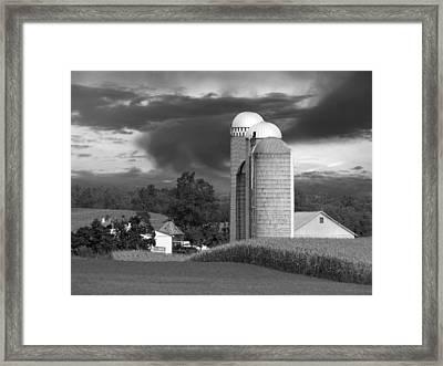 Sunset On The Farm Bw Framed Print