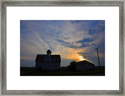 Sunset On The Farm Framed Print by Daniel Ness
