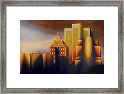 Sunset On The Montreal Skyline Framed Print