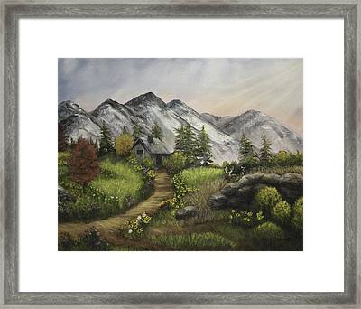 Sunset On The Mountain Cabin Framed Print by Gail Darnell
