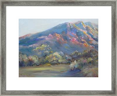 Sunset On The Mountains Framed Print by Bonnie Goedecke