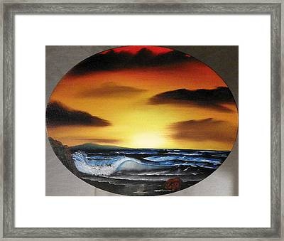 Sunset On The Seashore Framed Print by Amity Traylor
