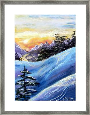Sunset On The Snow Framed Print by Trudy Morris