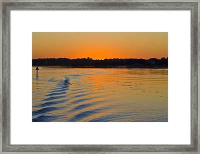 Sunset On The Sound Framed Print by Betsy Knapp