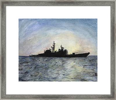 Sunset On The Uss Anzio Framed Print by Sarah Howland-Ludwig