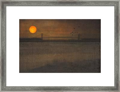 Sunset On The Verrazano Bridge Framed Print by Tom York Images