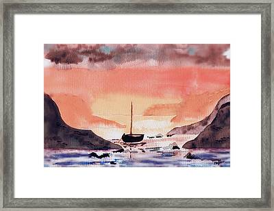 Framed Print featuring the painting Sunset On The Water by Paula Ayers
