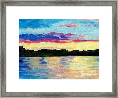 Sunset On Thornapple River Framed Print by Lisa Dionne