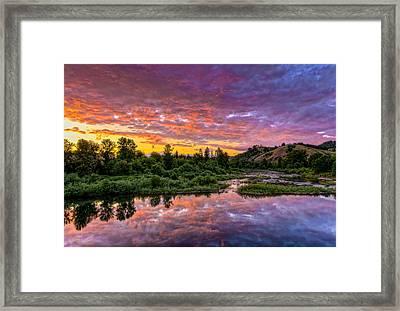 Sunset On Umpqua River Framed Print by Greg Nyquist