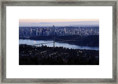 Sunset On Vancouver City Framed Print by Pierre Leclerc Photography