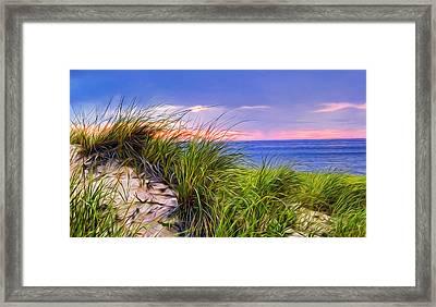 Sunset On Wellfleet Dunes Framed Print by Tammy Wetzel
