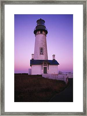 Sunset On Yaquina Head Lighthouse Framed Print
