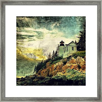 Sunset Over Bass Harbor Lighthouse Framed Print by Luke Kingma