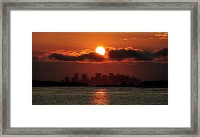 Sunset Over Boston Framed Print