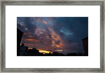 Sunset Over Brooklyn Post Irene Framed Print by Julie VanDore