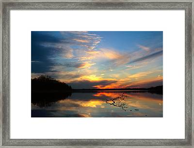 Sunset Over Calm Lake Framed Print by Daniel Reed