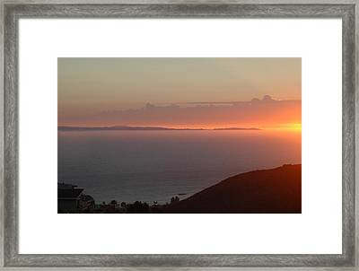 Sunset Over Catalina Framed Print by Russell Pierce