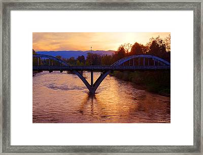 Sunset Over Caveman Bridge Framed Print by Mick Anderson