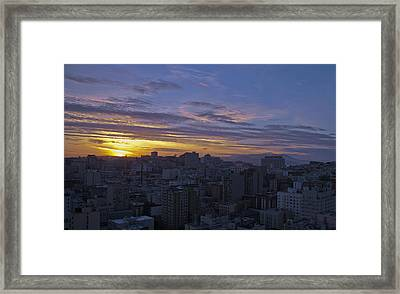 Sunset Over City Framed Print