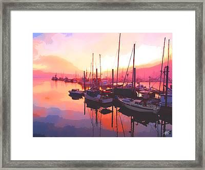 Sunset Over Harbor Framed Print by Steve Huang