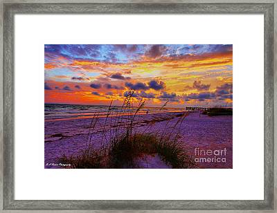 Sunset Over Indian Shores Framed Print by Barbara Bowen