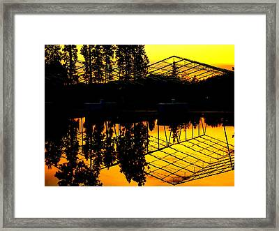 Framed Print featuring the photograph Sunset Over Lake Coeur D Alene Docks by Cindy Wright