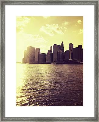 Sunset Over Manhattan Framed Print by Vivienne Gucwa