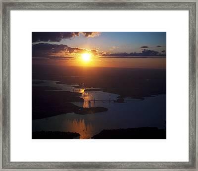 Sunset Over Ny Bridges Framed Print by Vicki Jauron